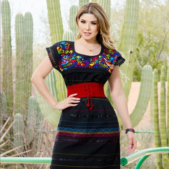 Beautiful Mexican Dress Loom Made Lace Embroidery Boutique